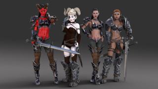 девушки, фон, оружие, рога, взгляд, униформа