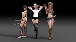 униформа, девушки, фон, взгляд, оружие