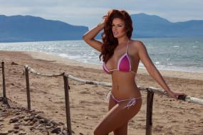 купальник, поза, вид, вода, море, забор, рыжеволосая, модель, девушка