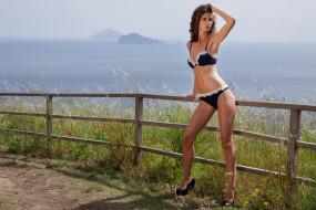 брюнетка, модель, девушка, поза, купальник, забор, море, вода, вид, Charlotta
