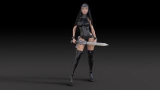 униформа, меч, взгляд, фон, девушка