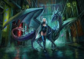 девушка, фон, униформа, взгляд, дракон
