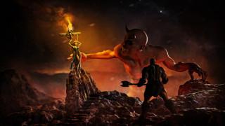 рога, мужчина, демон, распятие, крест, девушка, фон