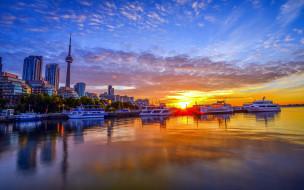города, торонто , канада, вечер, панорама, огни