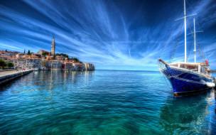 города, ровинь , хорватия, яхта, море