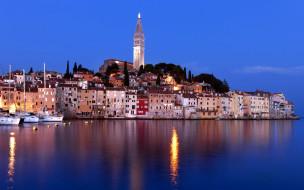города, ровинь , хорватия, огни, ночь, панорама