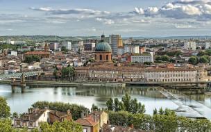 города, - исторические,  архитектурные памятники, тулуза, франция, достопримечательности, река, закат, городской, вид, вечер