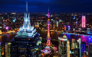 города, шанхай , китай, азия, небоскребы, мегаполис, ночной, вид, шанхай