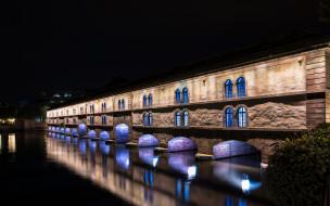 города, страсбург , франция, огни, вечер, мост