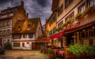 города, страсбург , франция, уличное, кафе