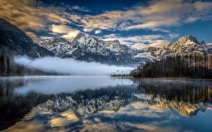 природа, пейзажи, горы, озеро, отражение, лес, облака