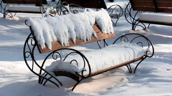 скамейка, парк, снег