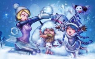 дети, фон, снег, снеговик, морковка, мужчина