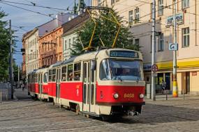трамвай, город, Прага, Чехия, улица