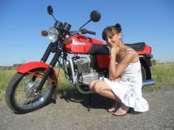 jawa 350, мотоциклы, мото с девушкой, девушка, поза, ява, мотоцикл, jawa, 350
