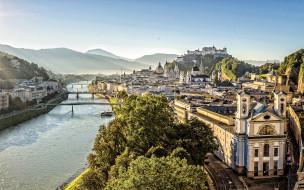 города, зальцбург , австрия, река, горы, мосты