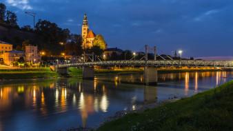 города, зальцбург , австрия, мост, река, огни, вечер