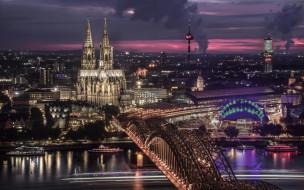 города, кельн , германия, огни, вечер, собор, мост, река