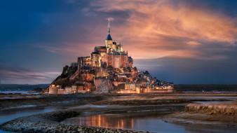 города, крепость мон-сен-мишель , франция, закат, крепость, остров
