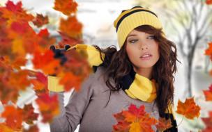 девушки, izabela magier, шатенка, модель, шапка, шарф, перчатки, свитер, осень, листья