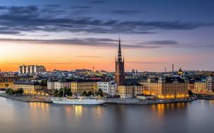 города, стокгольм , швеция, панорама