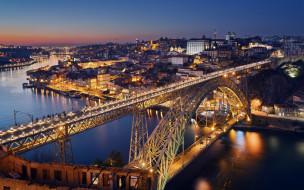 города, порту , португалия, река, мост