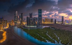 abu dhabi,  united arab emirates, города, абу-даби , оаэ, абу-даби, вечер, небоскребы, объединенные, арабские, эмираты