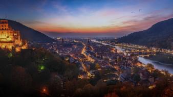 города, гейдельберг , германия, вечер, панорама