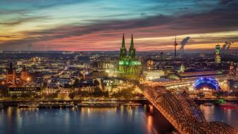 города, кельн , германия, ночь, панорама, мост, огни