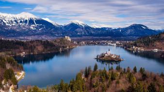 города, блед , словения, озеро, остров