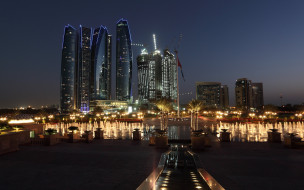 abu dhabi,  uae, города, абу-даби , оаэ, объединенные, арабские, эмираты, современная, архитектура, ночь, небоскребы, абу, даби