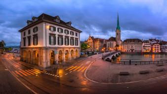 города, цюрих , швейцария, огни, вечер, улица