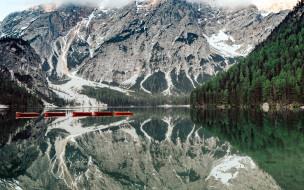озеро, лодки, отражение