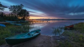 вечер, лодки, закат, река