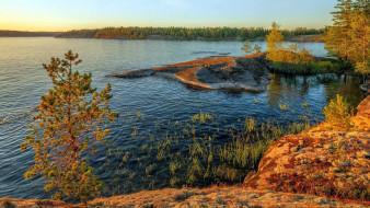 природа, реки, озера, островок, осень, река