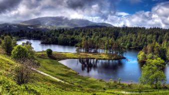 природа, реки, озера, островок, река, горы