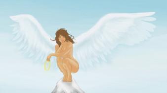 крылья, взгляд, фон, девушка