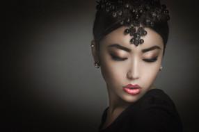 макияж, молодая, модель, украшение, портрет, взгляд, красотка, лицо, азиатка, девушка