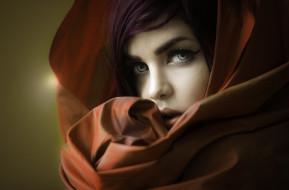 портрет, платок, лицо, красотка, модель, девушка