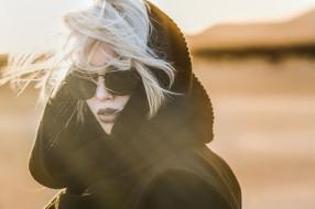 очки, девушка, лицо, красотка, модель, платок, блондинка, портрет