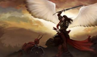 девушка, фон, латы, крылья, меч, демон