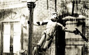 юмор и приколы, столб, дождь, здание, оружие, штурмовик