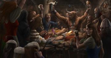 застолье, праздник, минотавр, монстры, люди, еда, явства, стол, пир