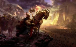 армия, топор, иной, мир, война, мощь, латы, воин, конь, рыцарь, секира, доспехи, викинг