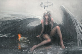 дождь, фон, нимб, крылья, девушка