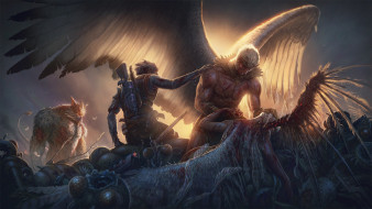 фон, мужчины, оружие, крылья