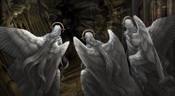 фон, крылья, ангелы