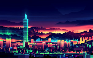 векторная графика, город , city, ночь, hd, город, тайвань, behance, минимализм, огни, мир