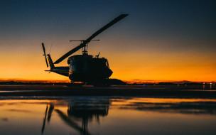 bell uh-1 iroquois, авиация, вертолёты, аэродром, закат, bell, 212, военно-транспортный, вертолет, ввс, сша, военные, вертолеты