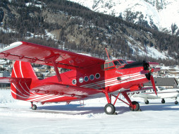 ан- 2, авиация, лёгкие одномоторные самолёты, самолёт, ан-, 2, снег, горы, аэродром